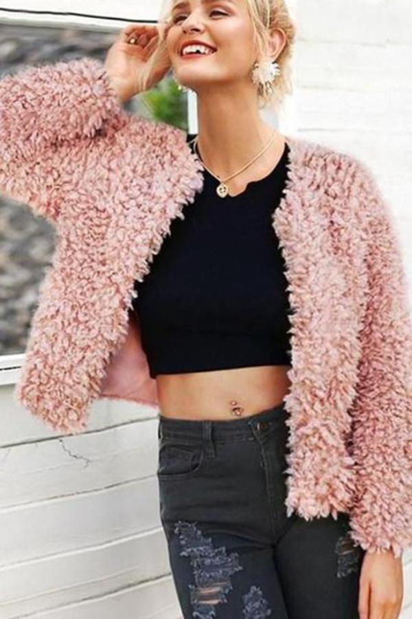 Fashion Cardigan Plush Pure Colour Overcoat Pink s