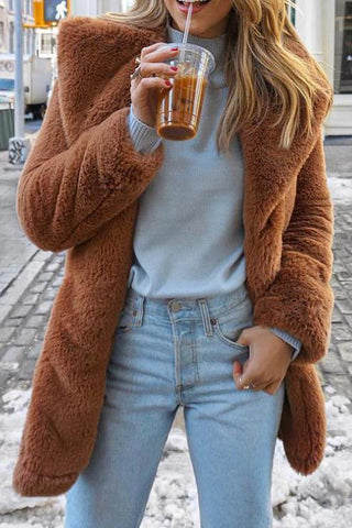 Image of Elegant Stylish Fur Thermal Plain Long Sleeve Coat Cardigan Camel s