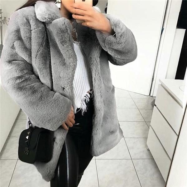 Elegant Stylish Fur Thermal Plain Long Sleeve Coat Cardigan Camel l