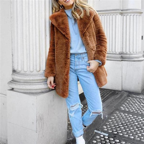 Image of Elegant Stylish Fur Thermal Plain Long Sleeve Coat Cardigan Camel m