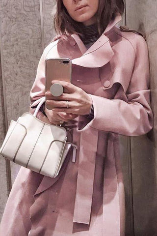 Image of Sweet Fashion Business Slim Plain Double-Breasted Long Sleeve Coat Cardigan Pink s