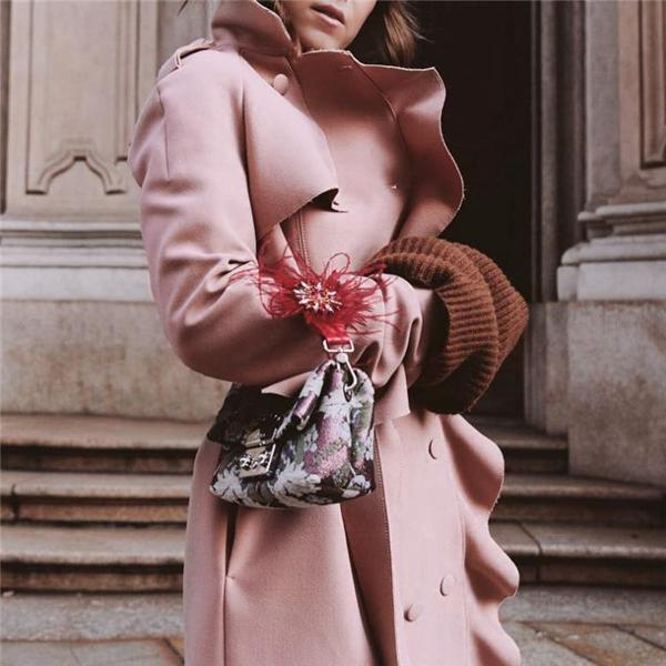 Sweet Fashion Business Slim Plain Double-Breasted Long Sleeve Coat Cardigan Pink l
