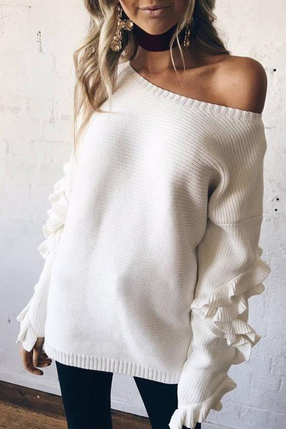 Sweet Casual Chic Loose Plain Ruffled Long Sleeve Sweater White one size