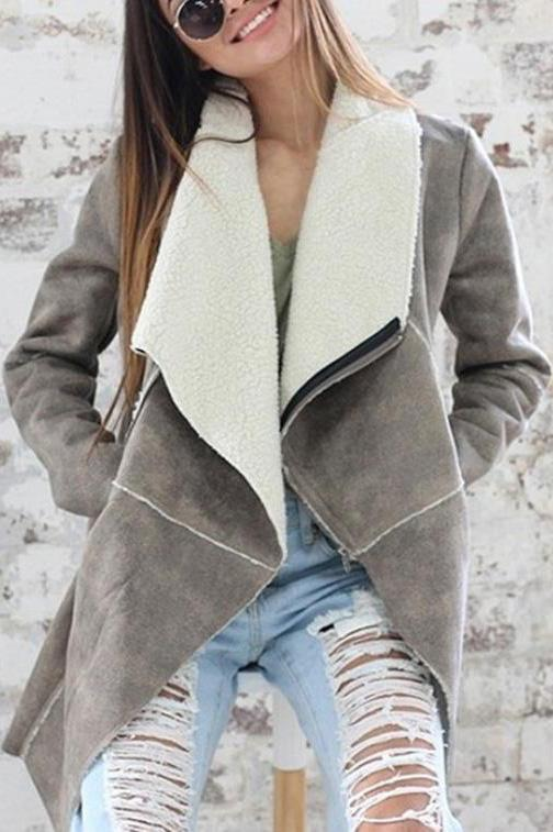 Elegant Business Fashion Woolen Collar Long Sleeve Cardigan Gray s