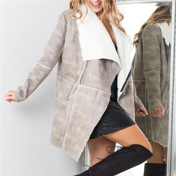 Elegant Business Fashion Woolen Collar Long Sleeve Cardigan Gray l