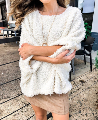 Image of Solid Color Large Round Neck Long Sleeve Cardigan beige l