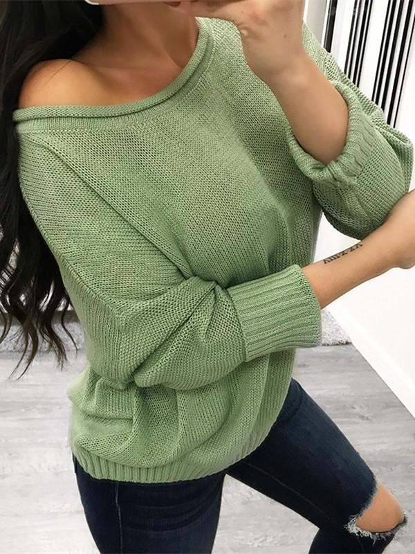 Pure Color Over Size Long Sleeve Sweater khaki l