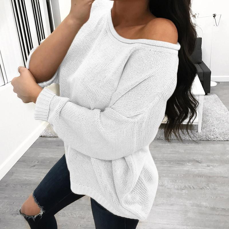 Pure Color Over Size Long Sleeve Sweater white l