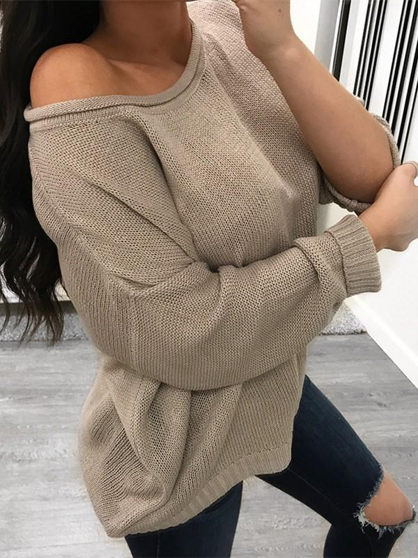 Pure Color Over Size Long Sleeve Sweater white xl