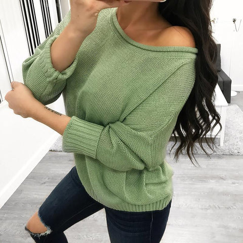 Image of Pure Color Over Size Long Sleeve Sweater khaki xl