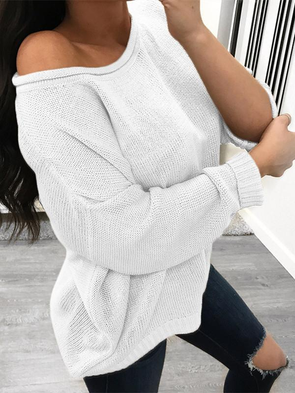 Pure Color Over Size Long Sleeve Sweater white m