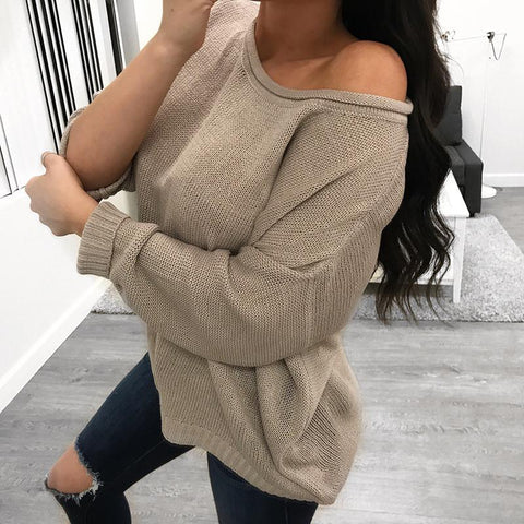 Image of Pure Color Over Size Long Sleeve Sweater white 2xl