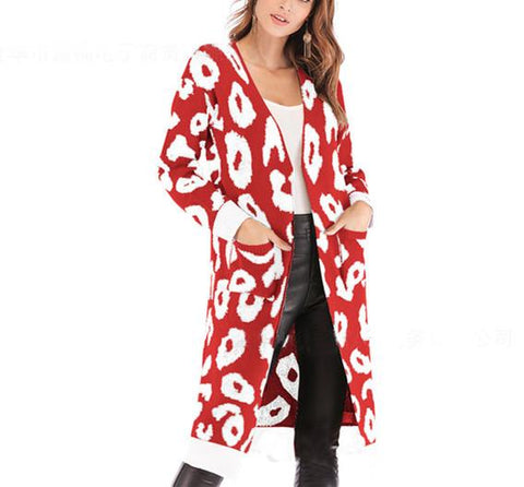 Image of Christmas Print Long-Sleeved Sweater Red l