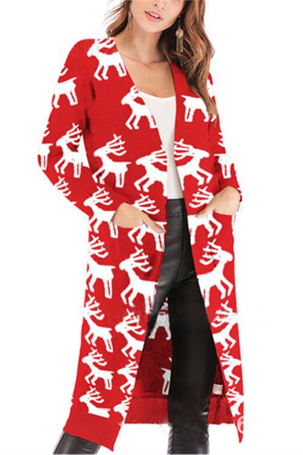 Christmas Print Long-Sleeved Sweater Red s