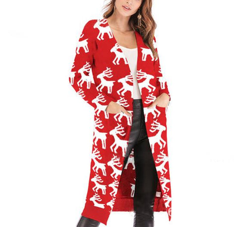 Image of Christmas Print Long-Sleeved Sweater Red m