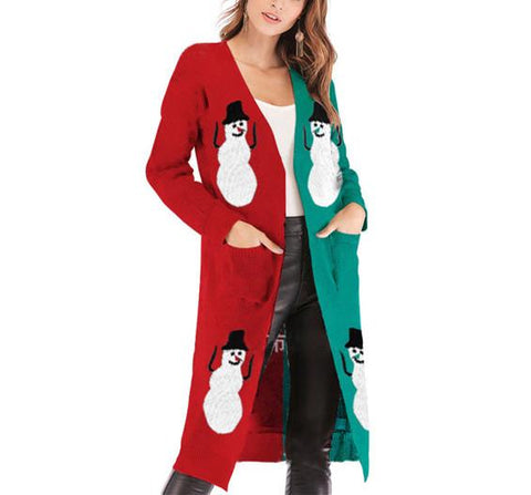 Image of Christmas Print Long-Sleeved Sweater Crimson s