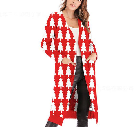 Image of Christmas Print Long-Sleeved Sweater Red xl