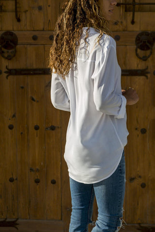 Image of Solid Color Long-Sleeved Casual Multi-Color Shirt white xl