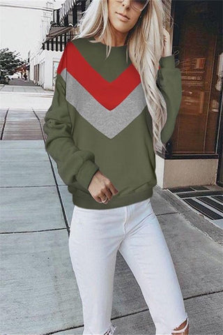 Image of Pure Color Spliced   Fleece Knit Sweater Green l