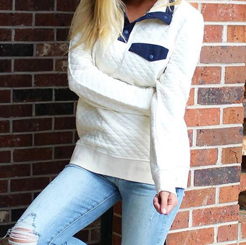 Image of Fashion High Collar Button Long Sleeve Sweater White l