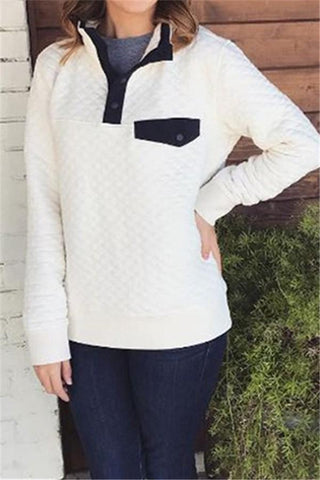 Image of Fashion High Collar Button Long Sleeve Sweater Gray s