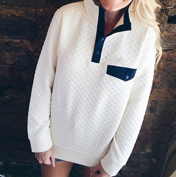 Fashion High Collar Button Long Sleeve Sweater White m