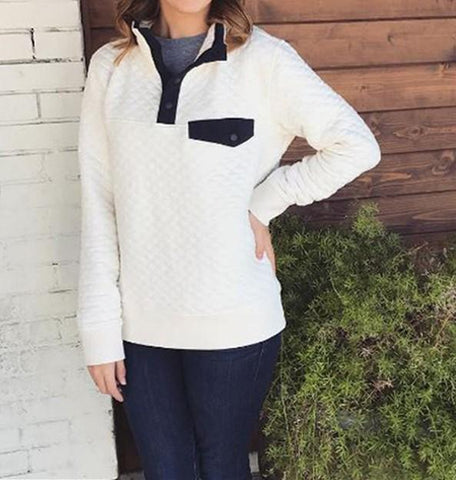Image of Fashion High Collar Button Long Sleeve Sweater White s