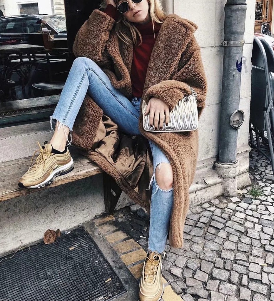 Autumn And Winter Fashion Pure Color Loose Casual Lapel Warm Coat Red m