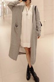 Image of Pure Color Long Knitted Jacket