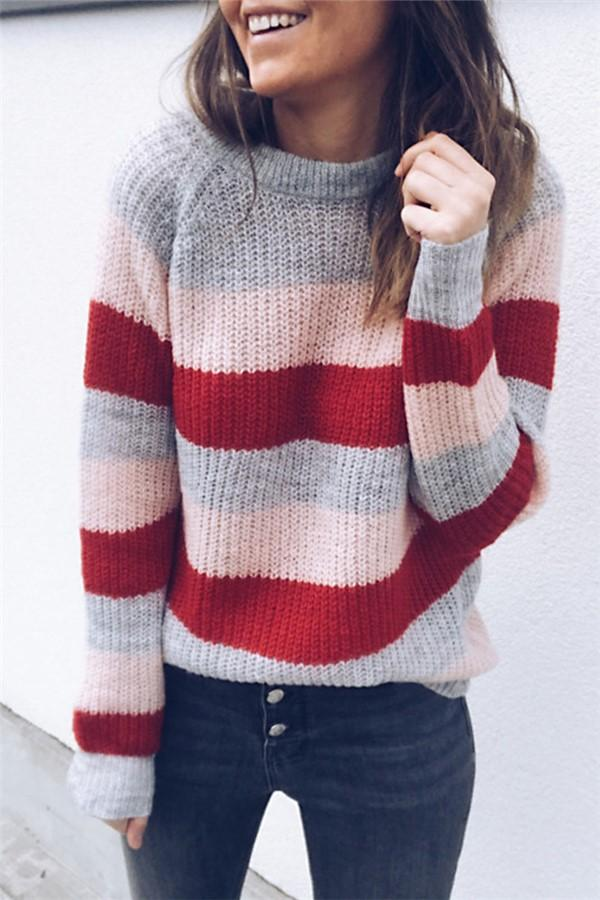 Loose Long Sleeve Striped Colorblock Sweater Pink s