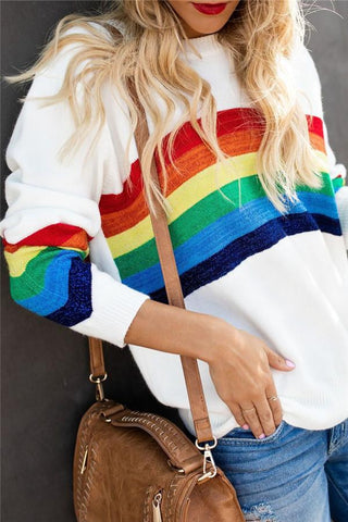 Image of Fashion Six-Color Rainbow Striped Jacquard Bag Sweater Same As Photo s