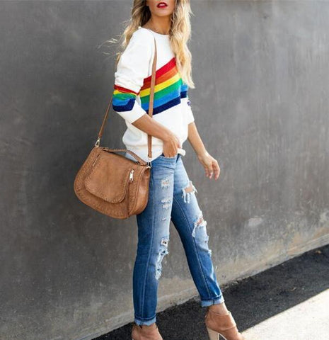 Image of Fashion Six-Color Rainbow Striped Jacquard Bag Sweater Same As Photo xl