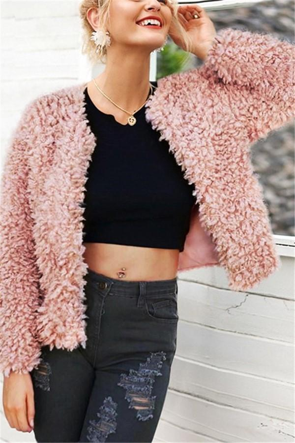 Pure Color Fleece Leather Elegant Fake Fur Warm Jacket Pink s
