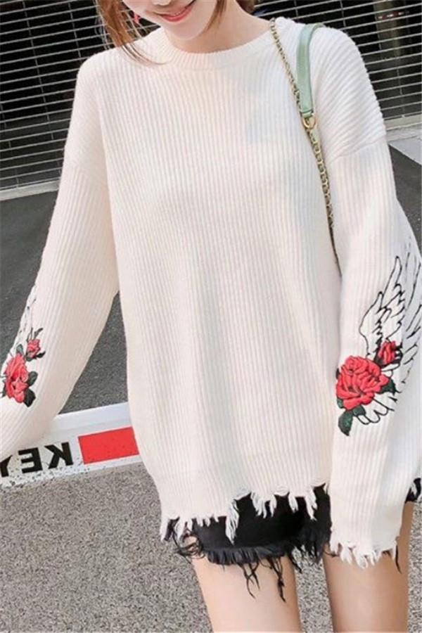 Fashion Pullover Loose Embroidered Sweater White one size