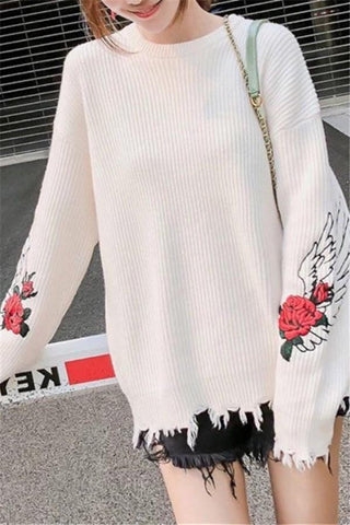 Image of Fashion Pullover Loose Embroidered Sweater White one size