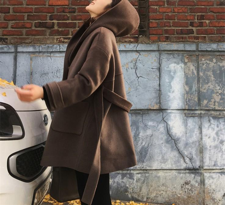 Pure Colour Wool Collar And Hat Length Woollen Coat Camel xl