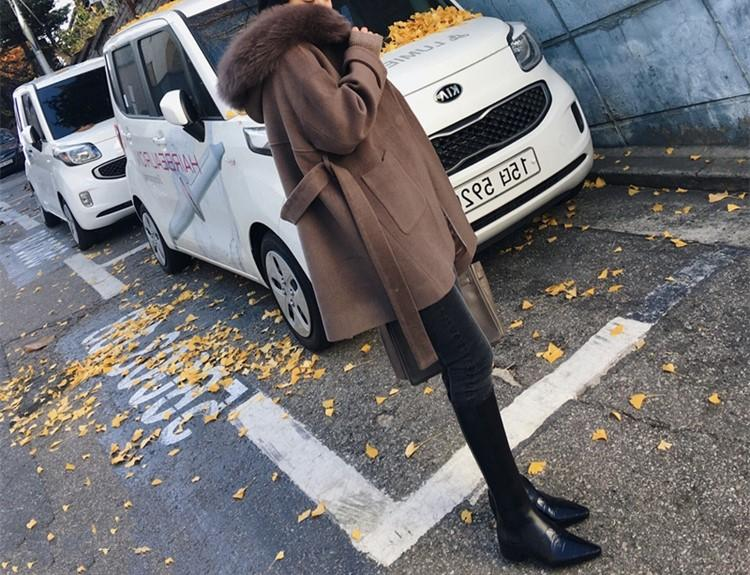 Pure Colour Wool Collar And Hat Length Woollen Coat Camel l