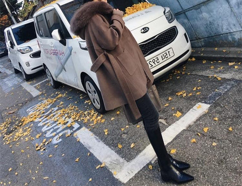 Image of Pure Colour Wool Collar And Hat Length Woollen Coat Camel l