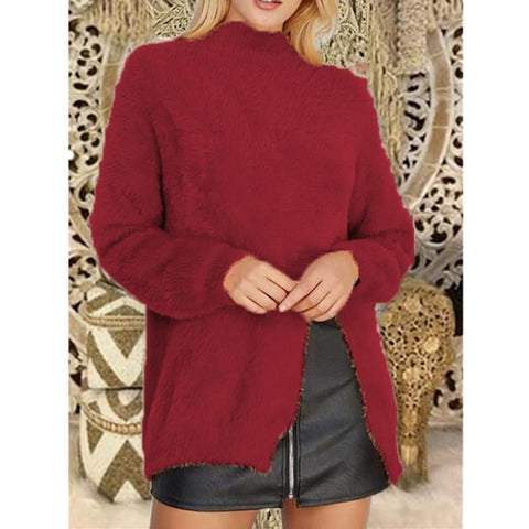 Image of Pure Color Long Sleeve Slit Sweater Red l