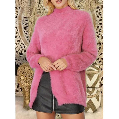 Image of Pure Color Long Sleeve Slit Sweater Pink m