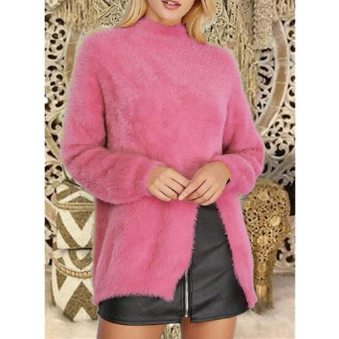 Image of Pure Color Long Sleeve Slit Sweater Pink l