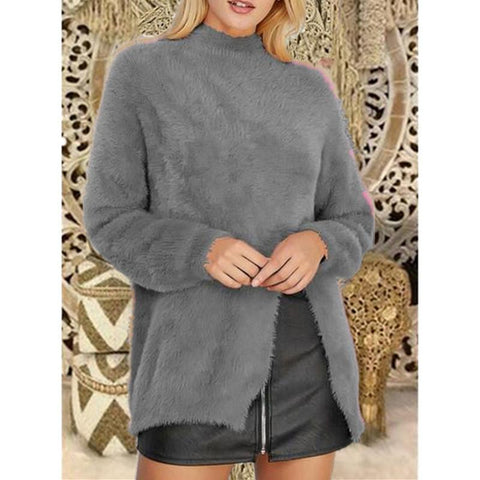 Image of Pure Color Long Sleeve Slit Sweater Khaki 3xl