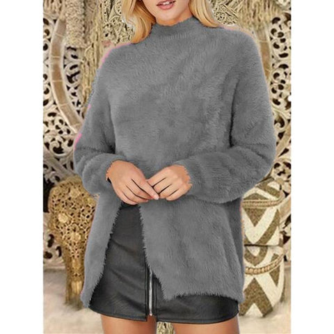 Image of Pure Color Long Sleeve Slit Sweater Khaki 2xl