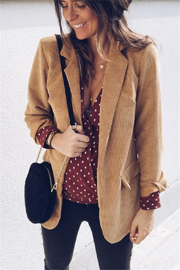 Pure Color Flip The Suit Jacket Coat Brown s