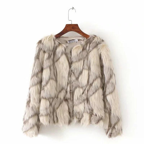 Image of Fashion Clash Splicing Artificial Fur Sweater