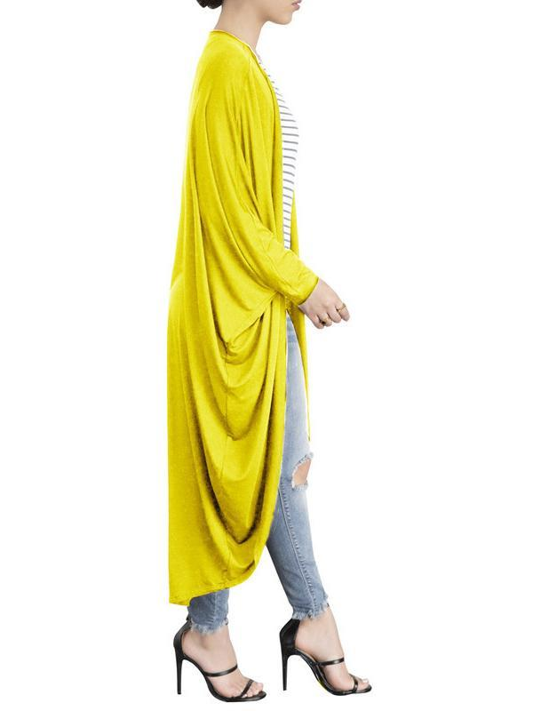 Fashion Pure Colour Irregular Bat Sleeve Cardigan Yellow l
