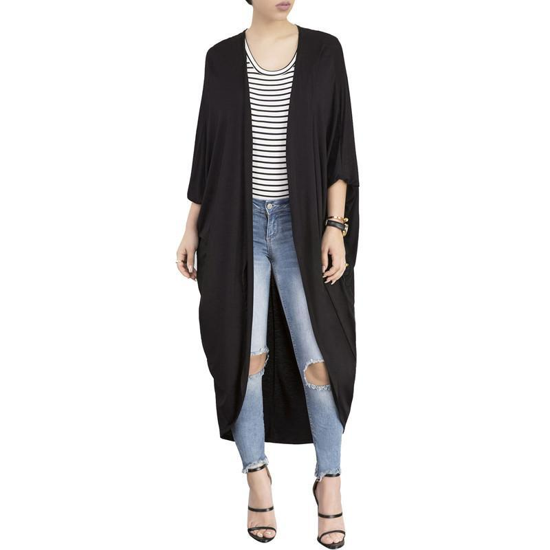 Fashion Pure Colour Irregular Bat Sleeve Cardigan Gray m