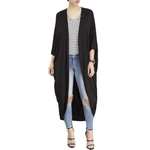 Image of Fashion Pure Colour Irregular Bat Sleeve Cardigan Gray m