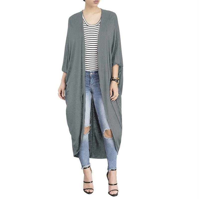 Fashion Pure Colour Irregular Bat Sleeve Cardigan Gray s