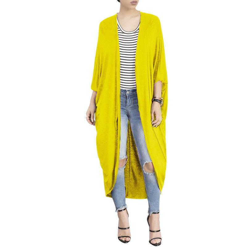 Fashion Pure Colour Irregular Bat Sleeve Cardigan Yellow m